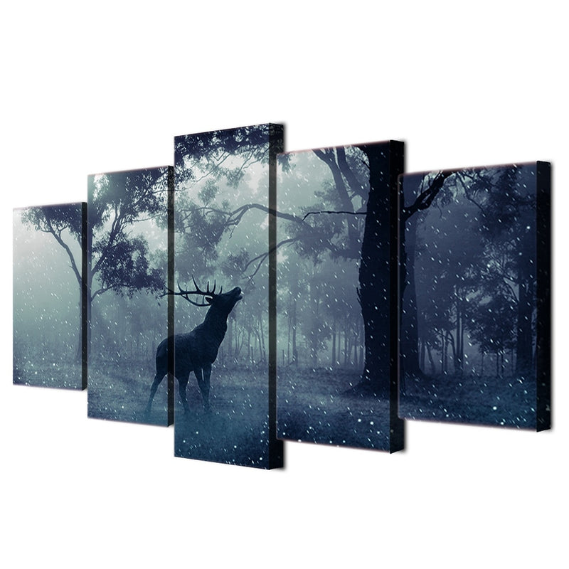 5-Piece Black Forest Howling Elk Canvas Wall Art