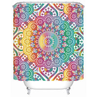 Colorful Rainbow Mandala Print Bathroom Shower Curtain