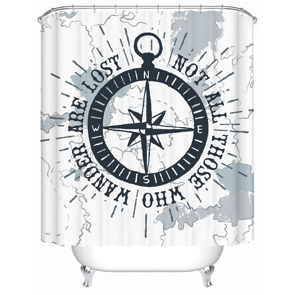 White Nautical Wandering Compass Bathroom Shower Curtain