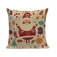 "18"" Cartoon Santa Claus Print Throw Pillow Cover"