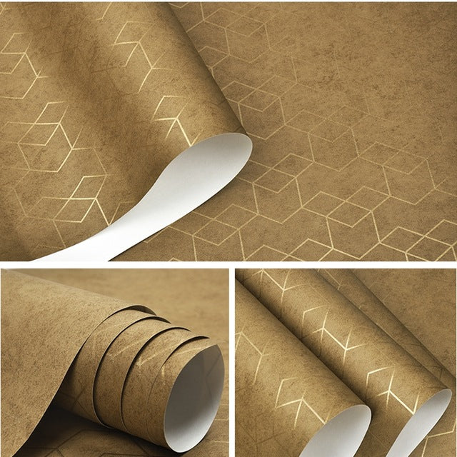 Geometric Metallic Diamond Hex Pattern Wallpaper