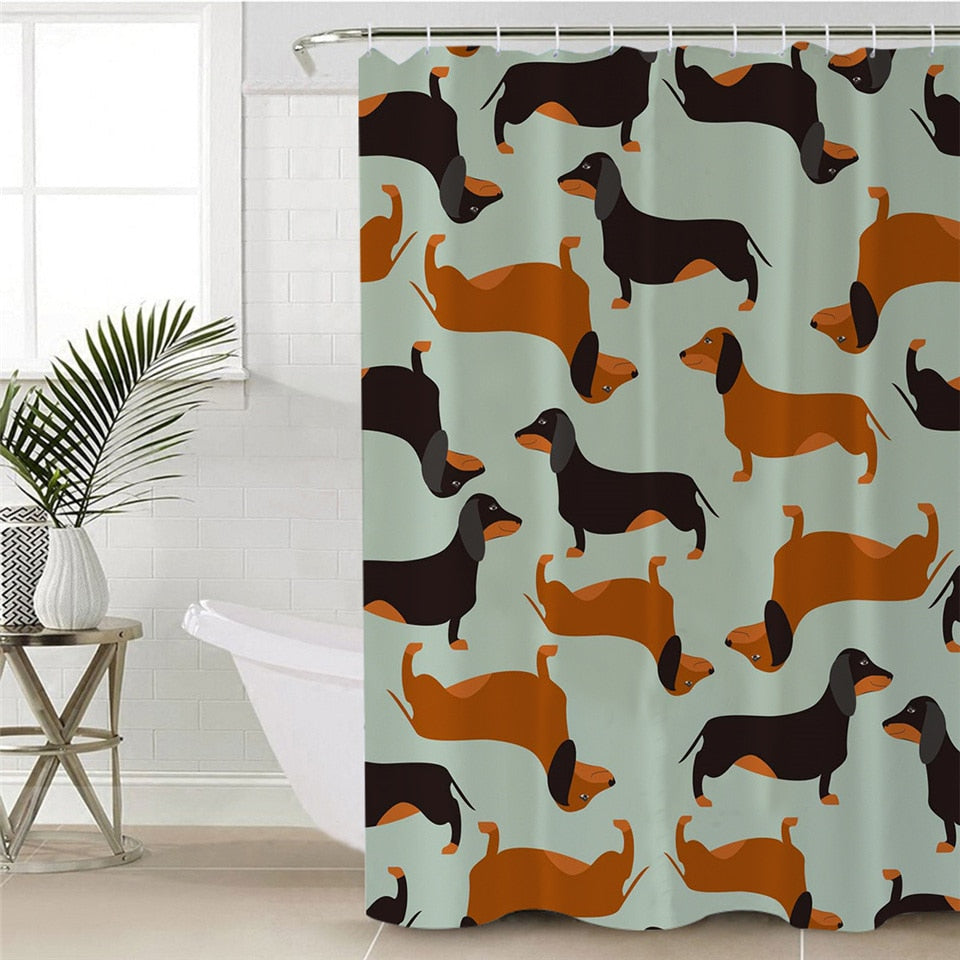 Dachshund Wiener Dog Pattern Bathroom Shower Curtain