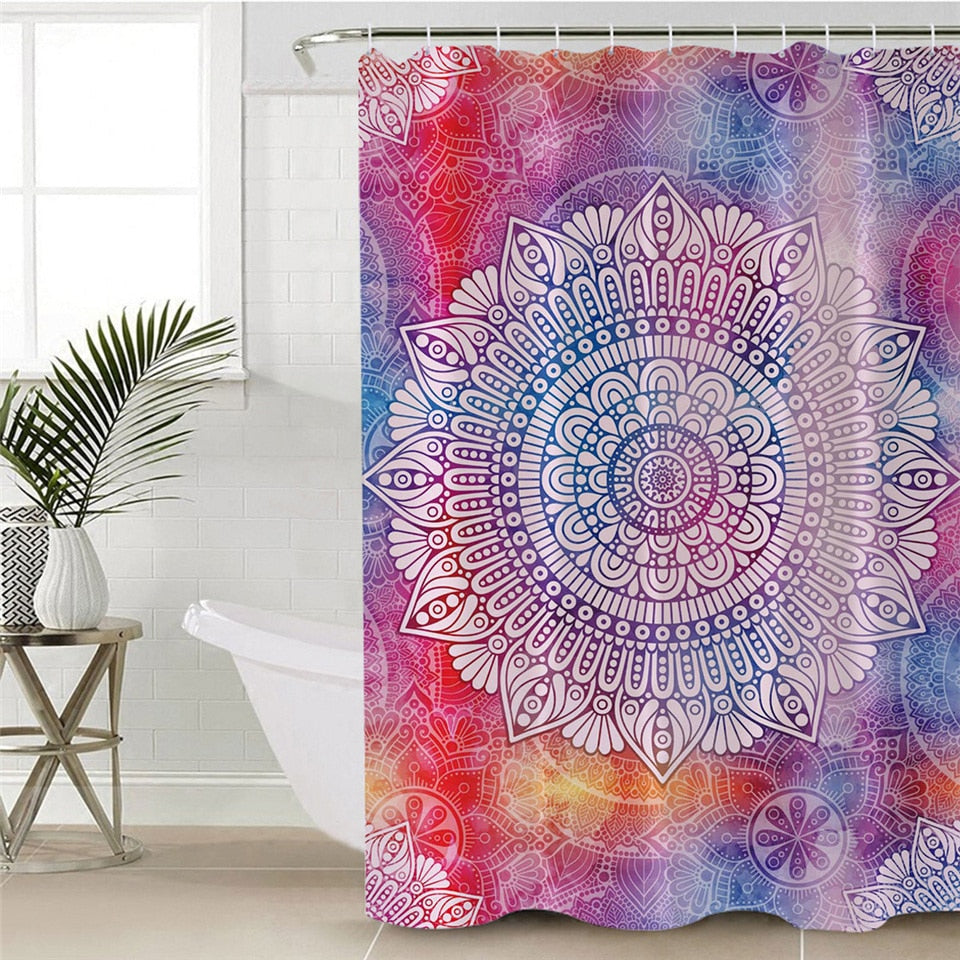Rainbow Bohemian Mandala Print Bathroom Shower Curtain