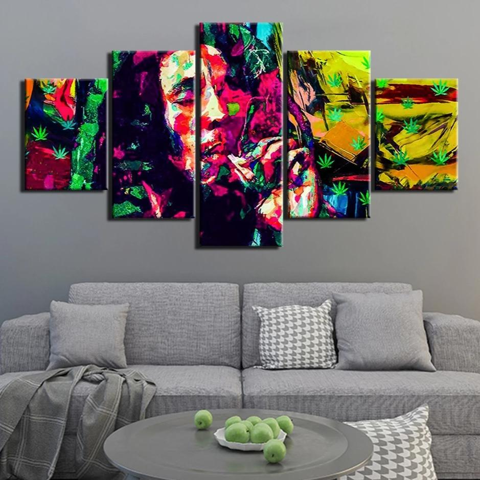 5-Piece Abstract Bob Marley Rasta Print Canvas Wall Art