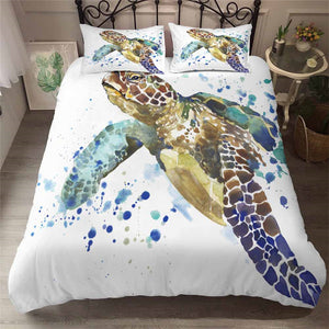 White 3-Piece Watercolor Sea Turtle Duvet Cover Bedding Set