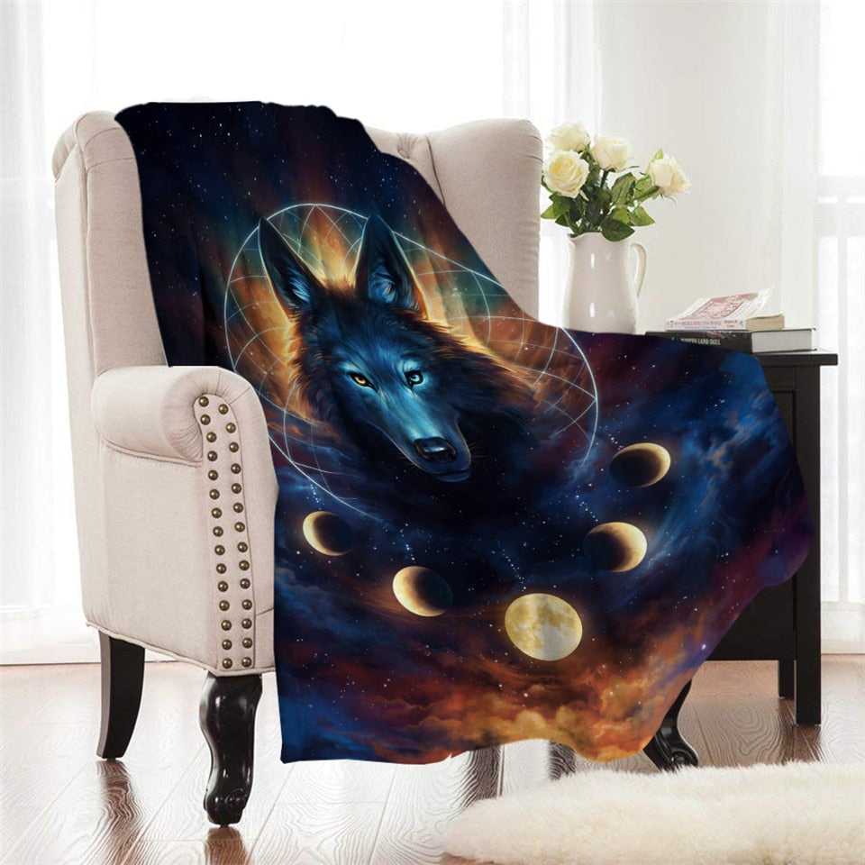 Lunar Wolf Dream Catcher by JoJoes Fleece Throw Blanket