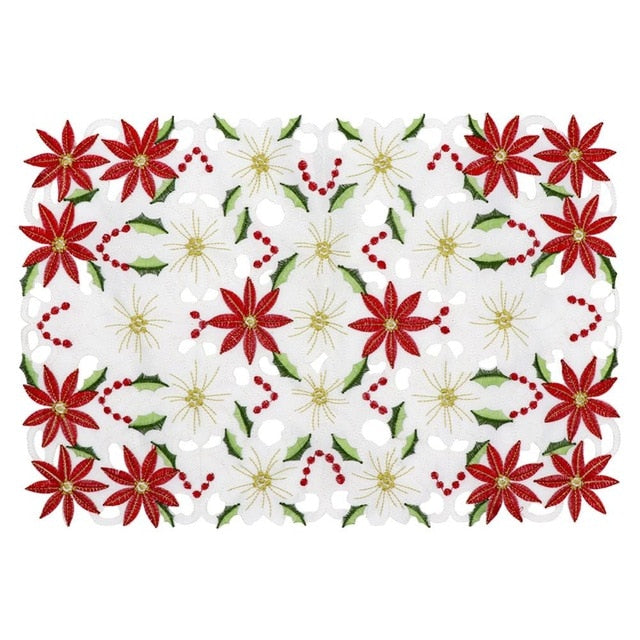 2-Piece Red Poinsettia Floral Christmas Table Placemat