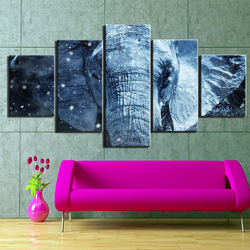 5-Piece Mystical Blue Elephant Canvas Wall Art