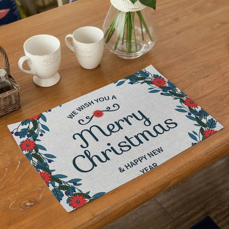 Classic Merry Christmas Print Table Placemat
