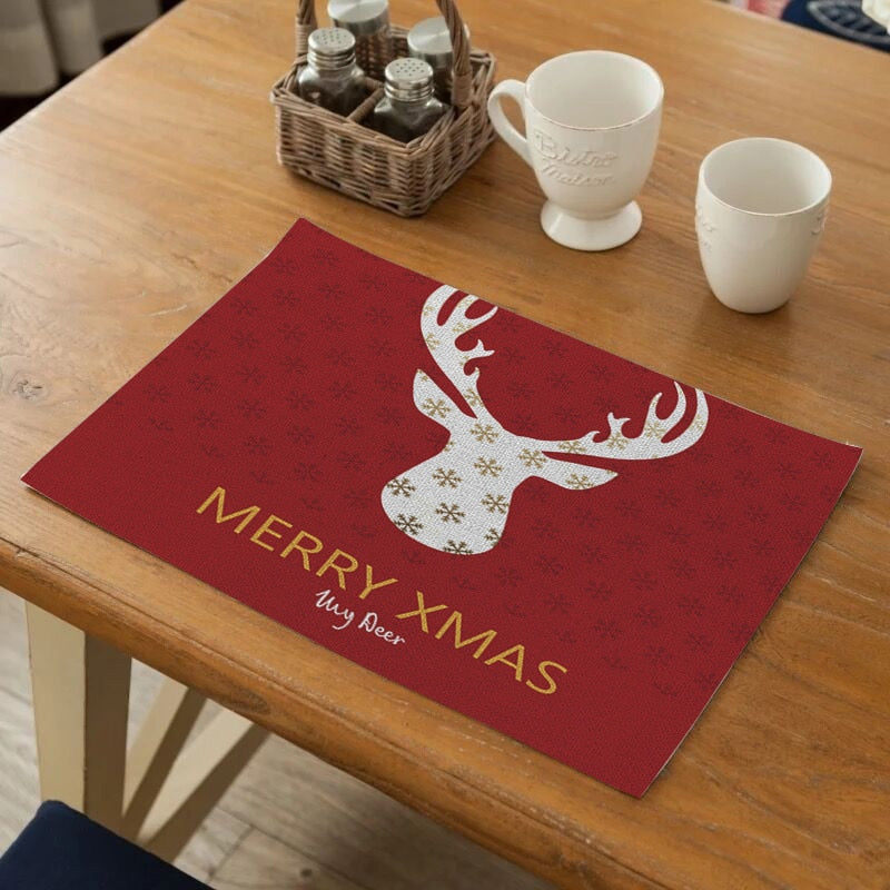 Red Merry Christmas Print Table Placemat