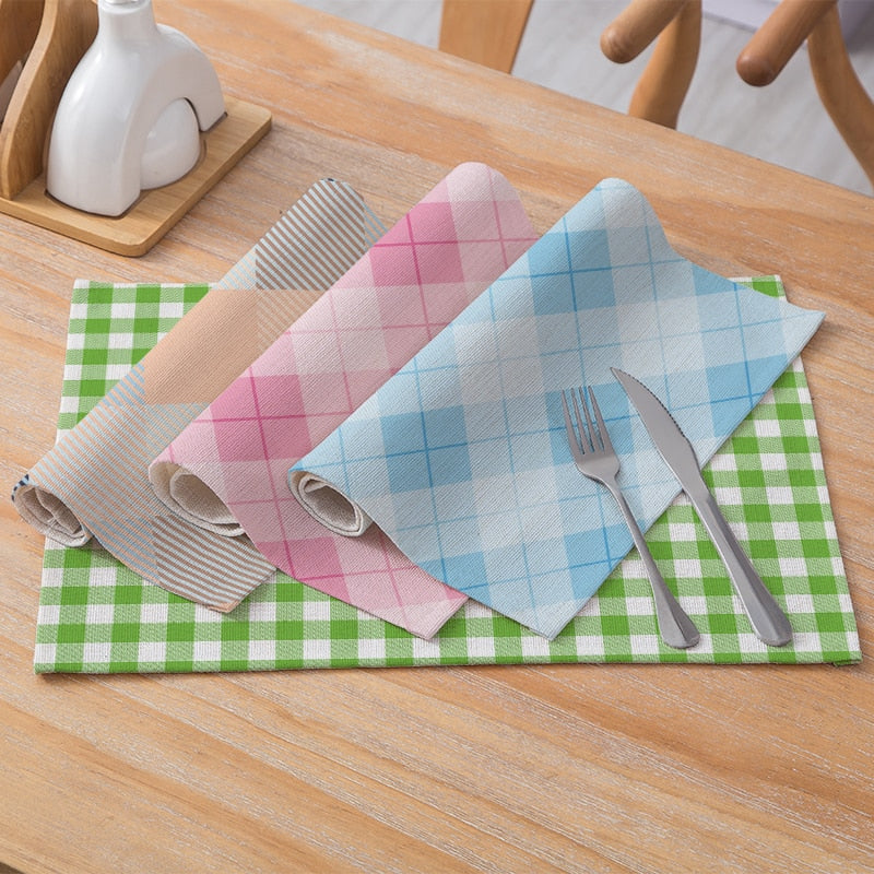 Multi-Color Square Plaid Pattern Table Placemat