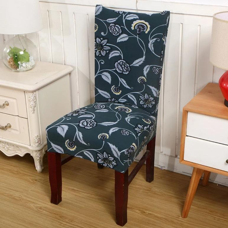 Dark Teal Blue Floral Pattern Dining Chair Cover