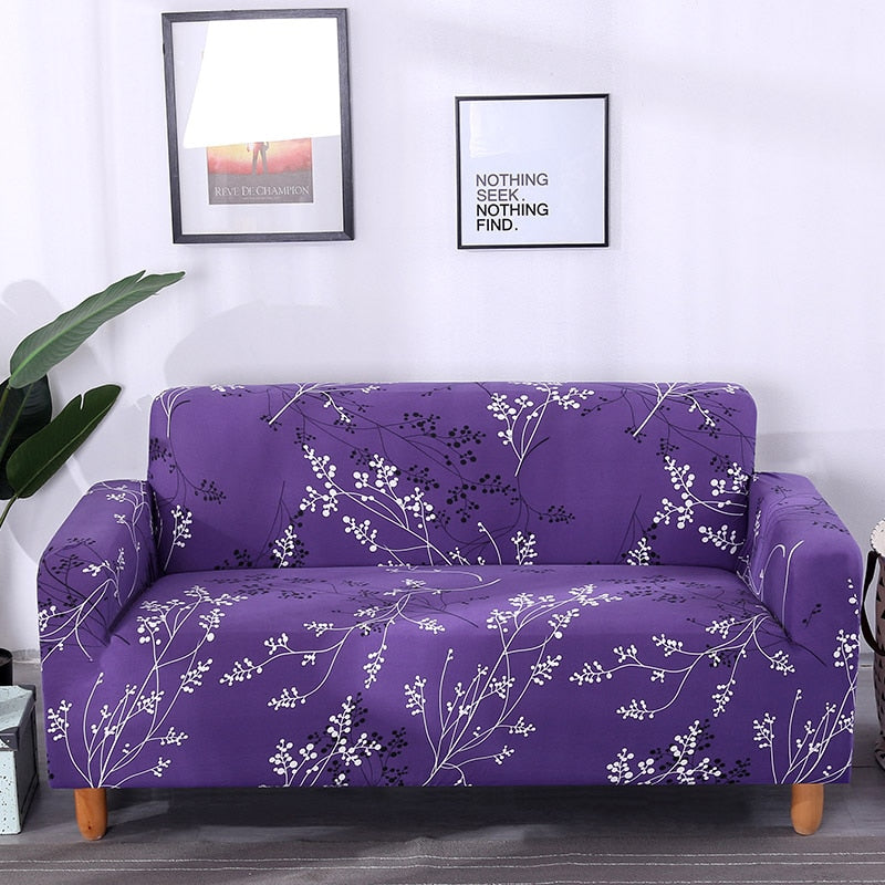 Purple Floral Tree Branch Pattern Sofa Couch Cover