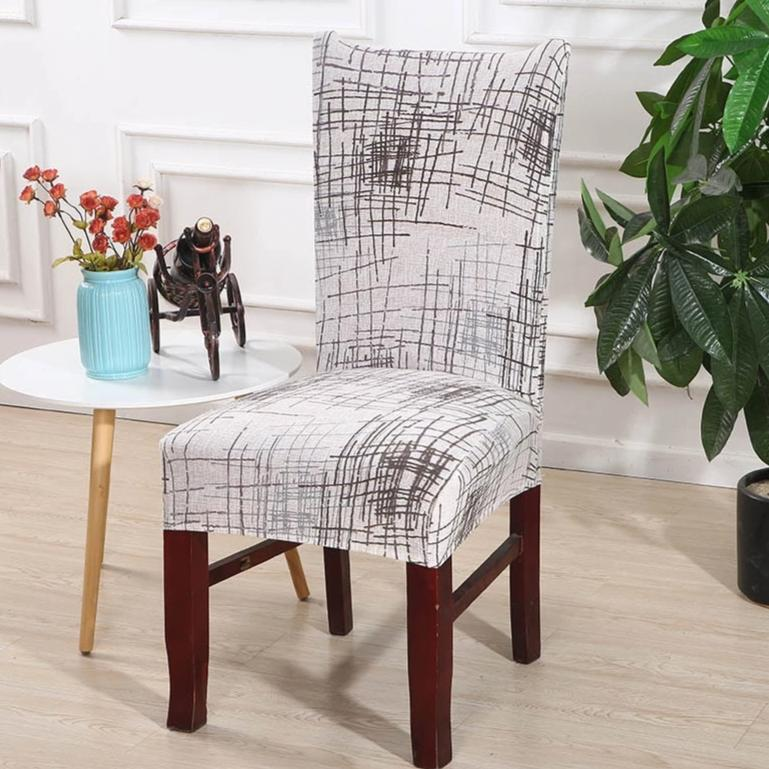 Silver Abstract Scratch Pattern Dining Chair Cover