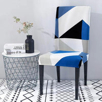 Blue / White Geometric Triangle Pattern Dining Chair Cover