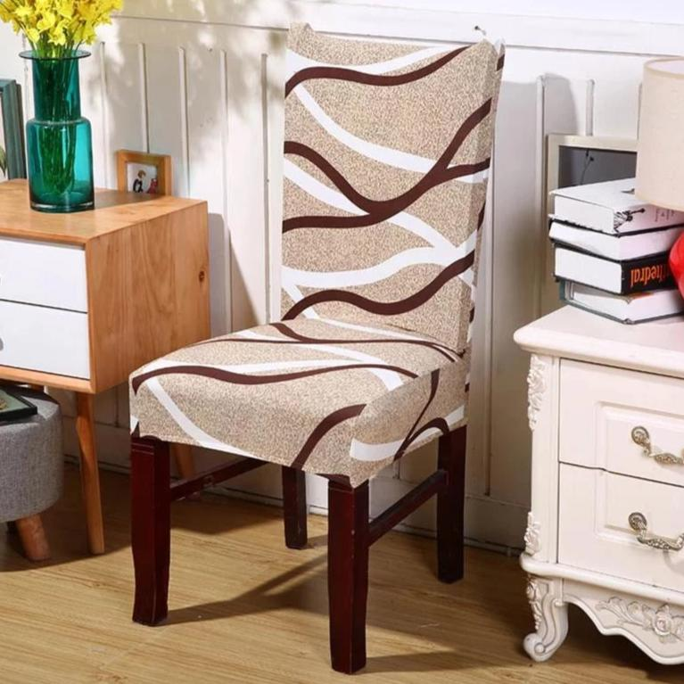 Brown Abstract Wave Pattern Dining Chair Cover