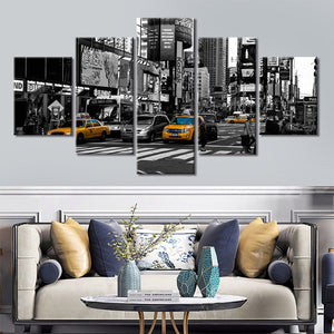 5-Piece Black & White New York City Cabs Canvas Wall Art