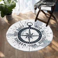 Round Nautical Wandering Compass Floor Mat Rug