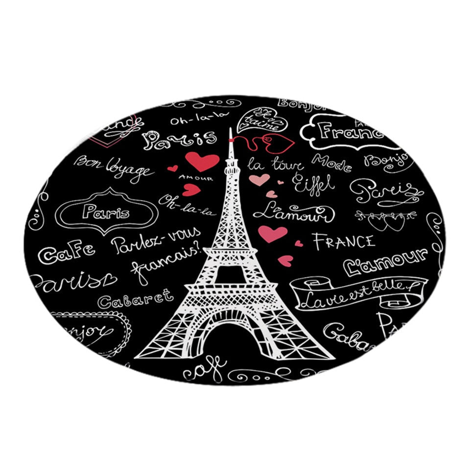 Round Black Paris Eiffel Tower Doodle Print Floor Mat Rug