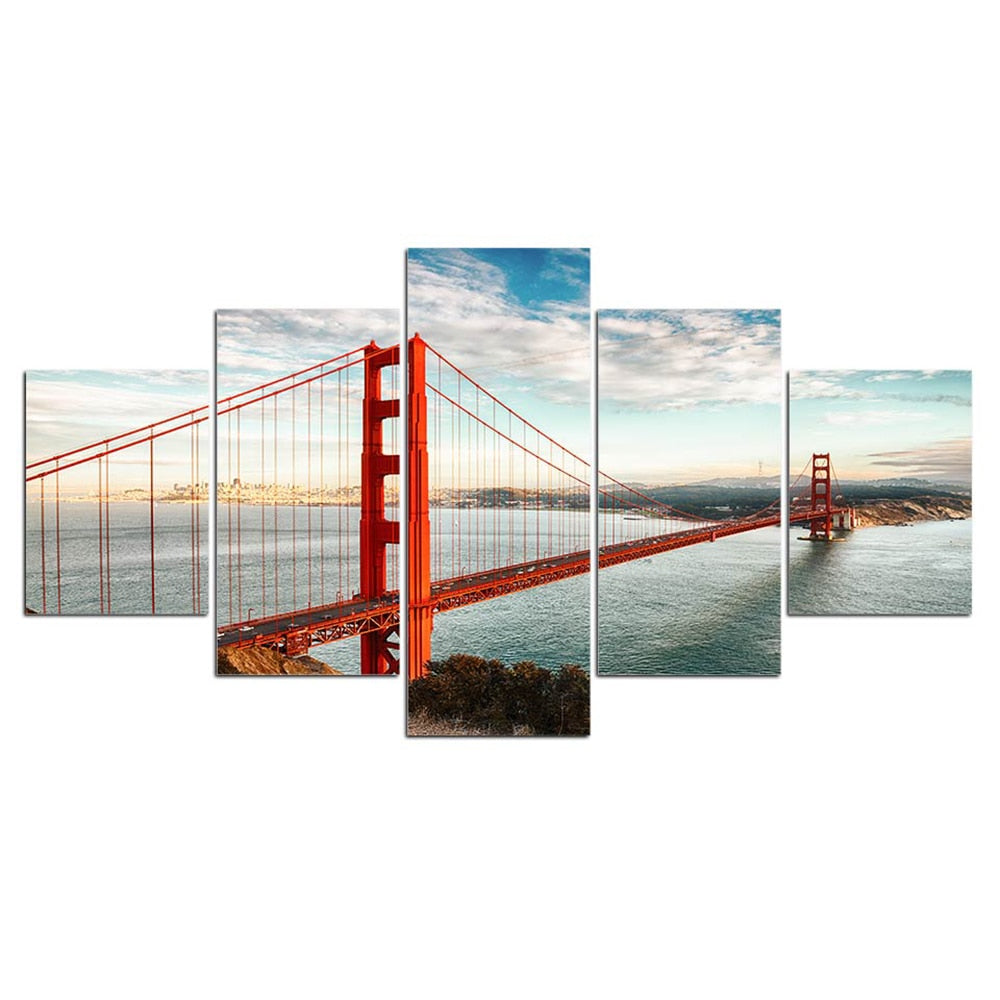 5-Piece San Francisco Bay Bridge Sky Canvas Wall Art