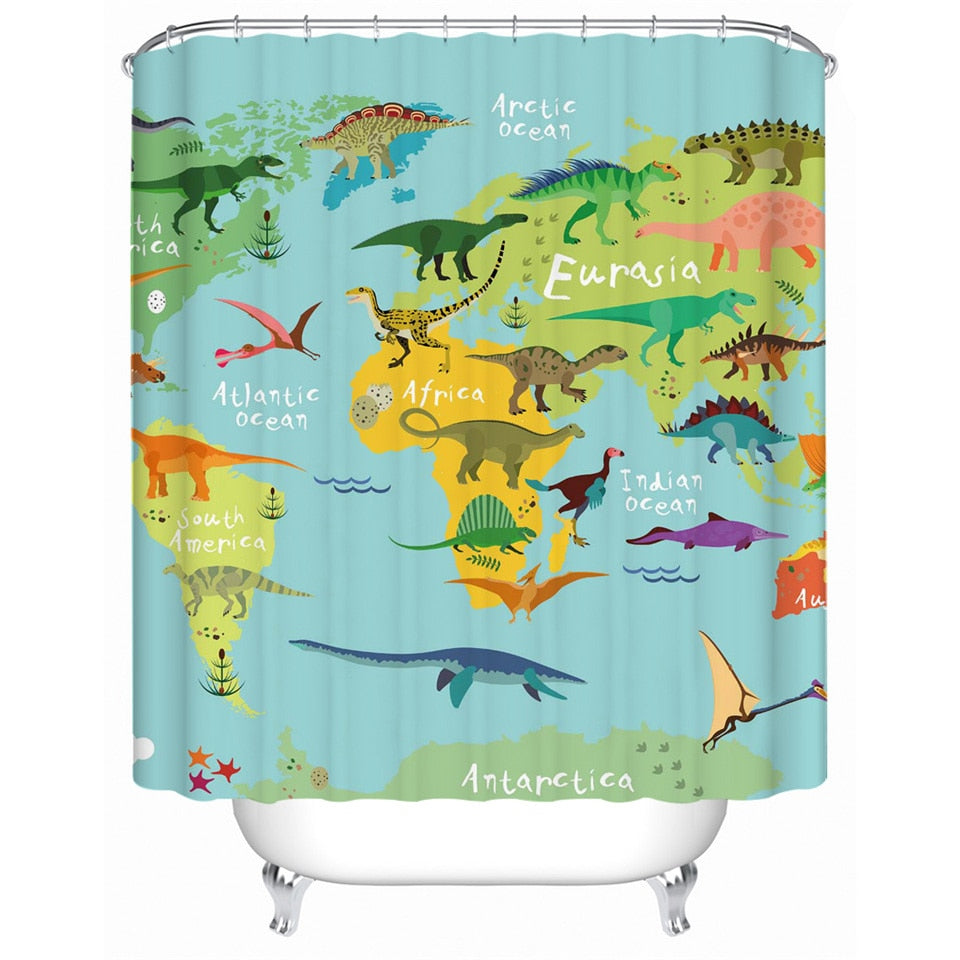 Kids Dinosaur World Map Bathroom Shower Curtain