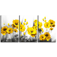 3-Piece Black & White Yellow Flowers Canvas Wall Art
