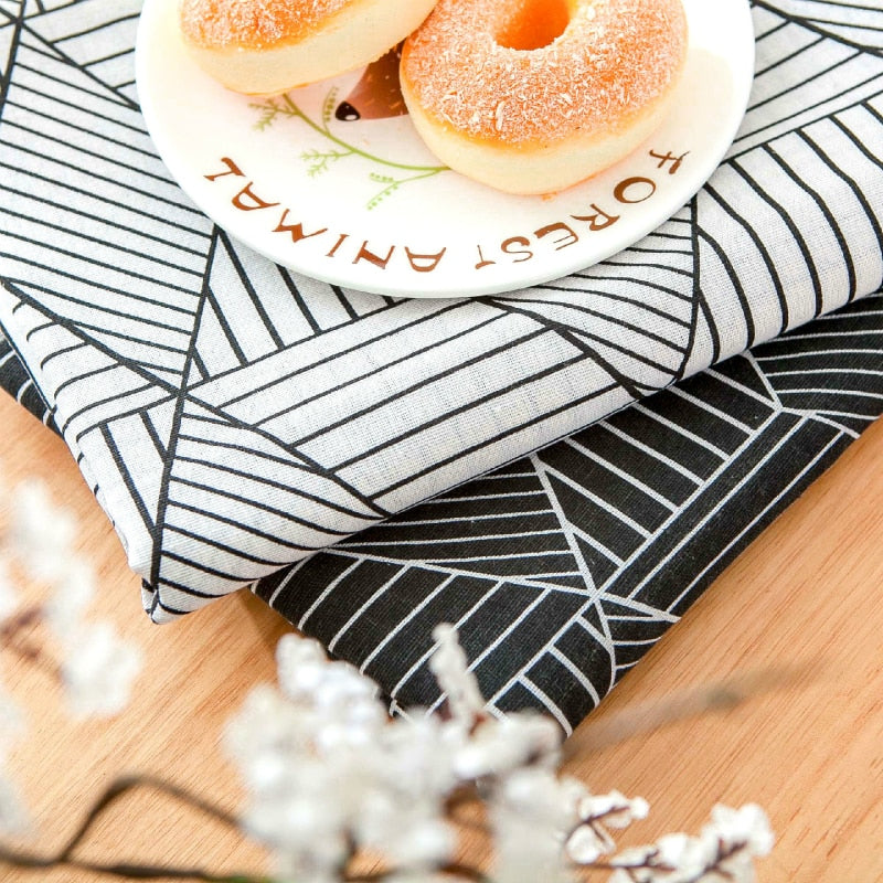 Striped Octagon Geometric Cotton Linen Tablecloth
