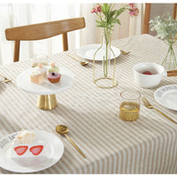 Simple Striped Cotton Linen Tablecloth w/ Tassels