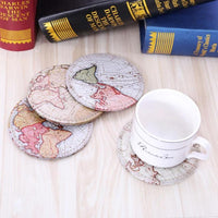 4-Piece Retro World Map Drink Coaster Set