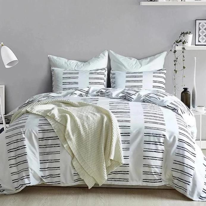 Black & White 2/3-Piece Striped Ladder Pattern Duvet Cover Set