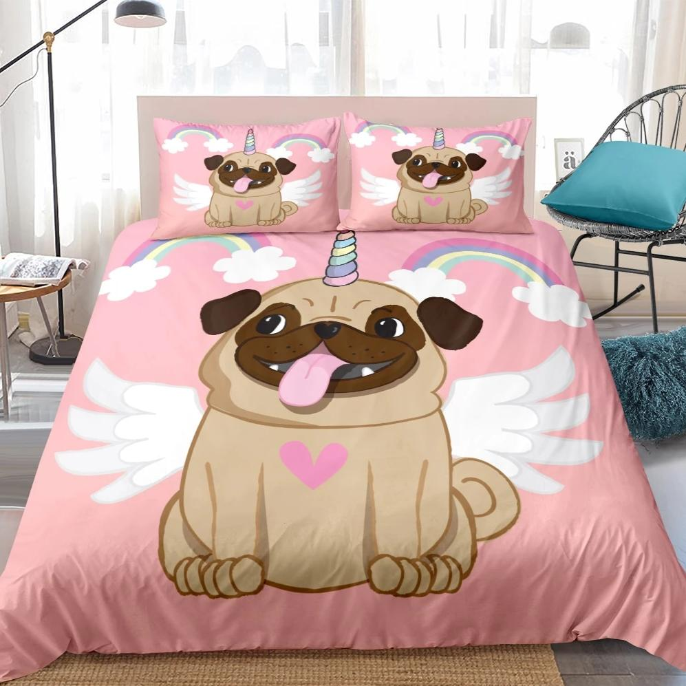 Pink 2/3-Piece Cartoon Unicorn Pug Print Duvet Cover Set