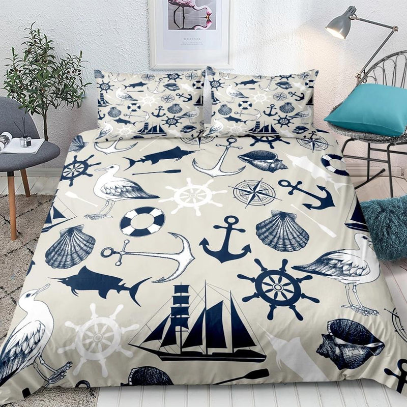 Beige / Navy 3-Piece Nautical Sailing Pattern Duvet Cover Set