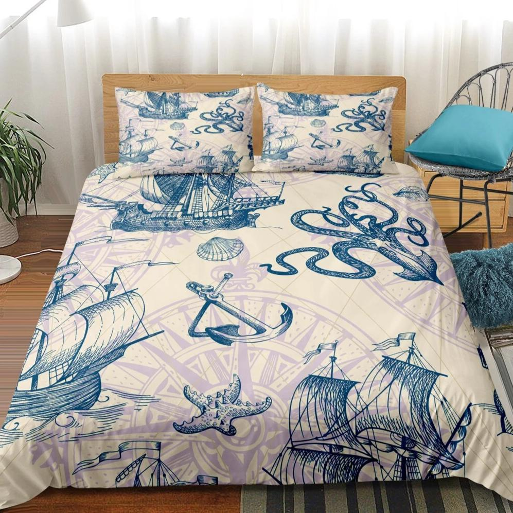 2/3-Piece Vintage Nautical Ocean Voyage Duvet Cover Set
