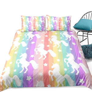 2/3-Piece Multi-Color Rainbow Unicorn Stripe Duvet Cover Set