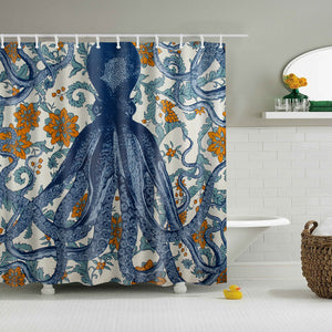 Multi-Color Octopus Print Bathroom Shower Curtain
