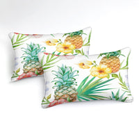 White 2/3-Piece Floral Pineapple Print Duvet Cover Set