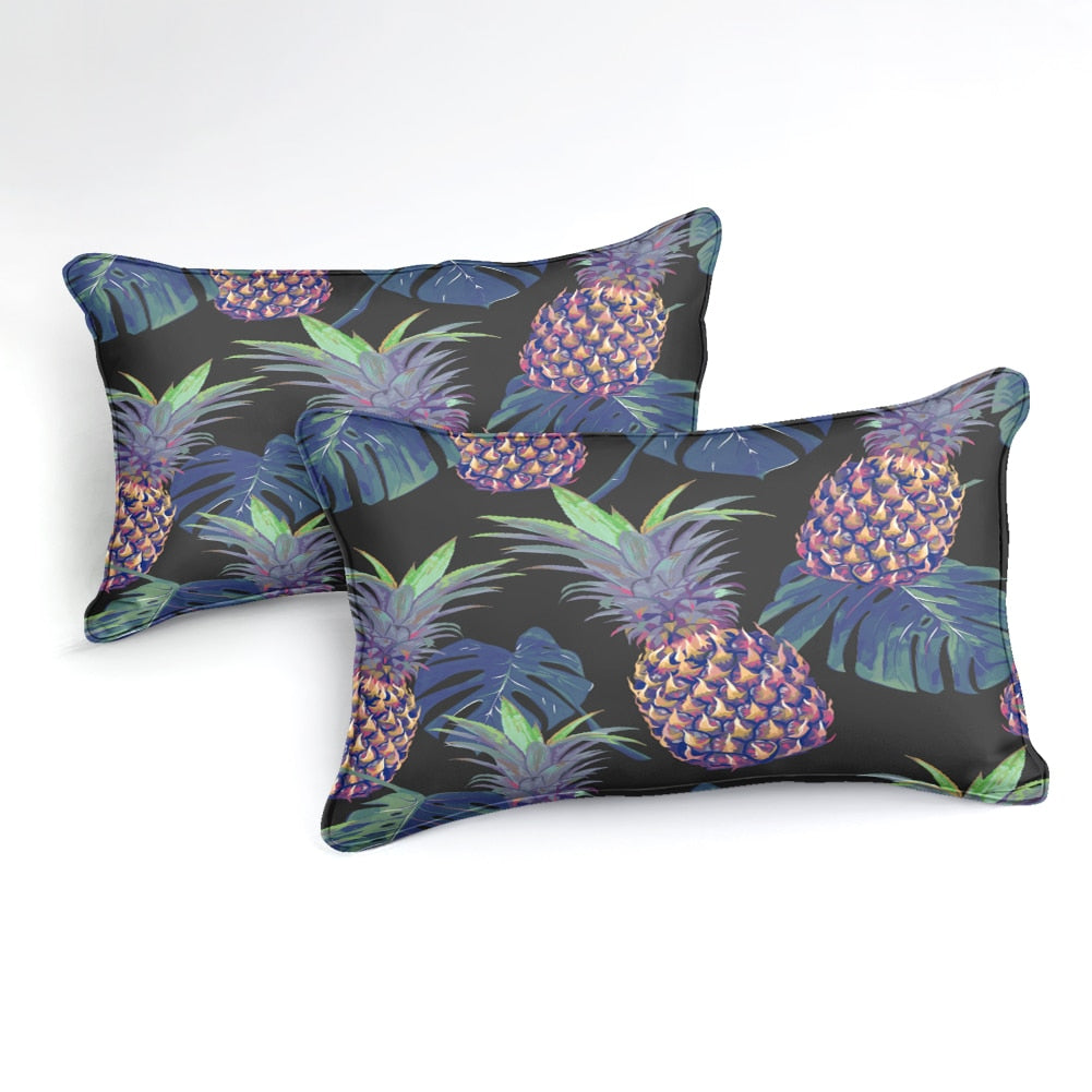 Black 2/3-Piece Fluorescent Pineapple Print Duvet Cover Set