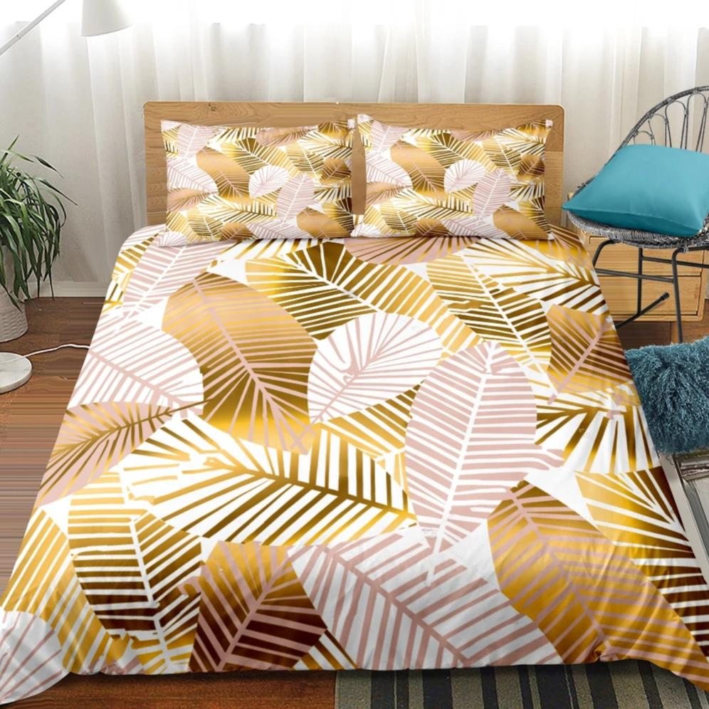 Gold 2/3-Piece Tropical Palm Leaf Pattern Duvet Cover Set