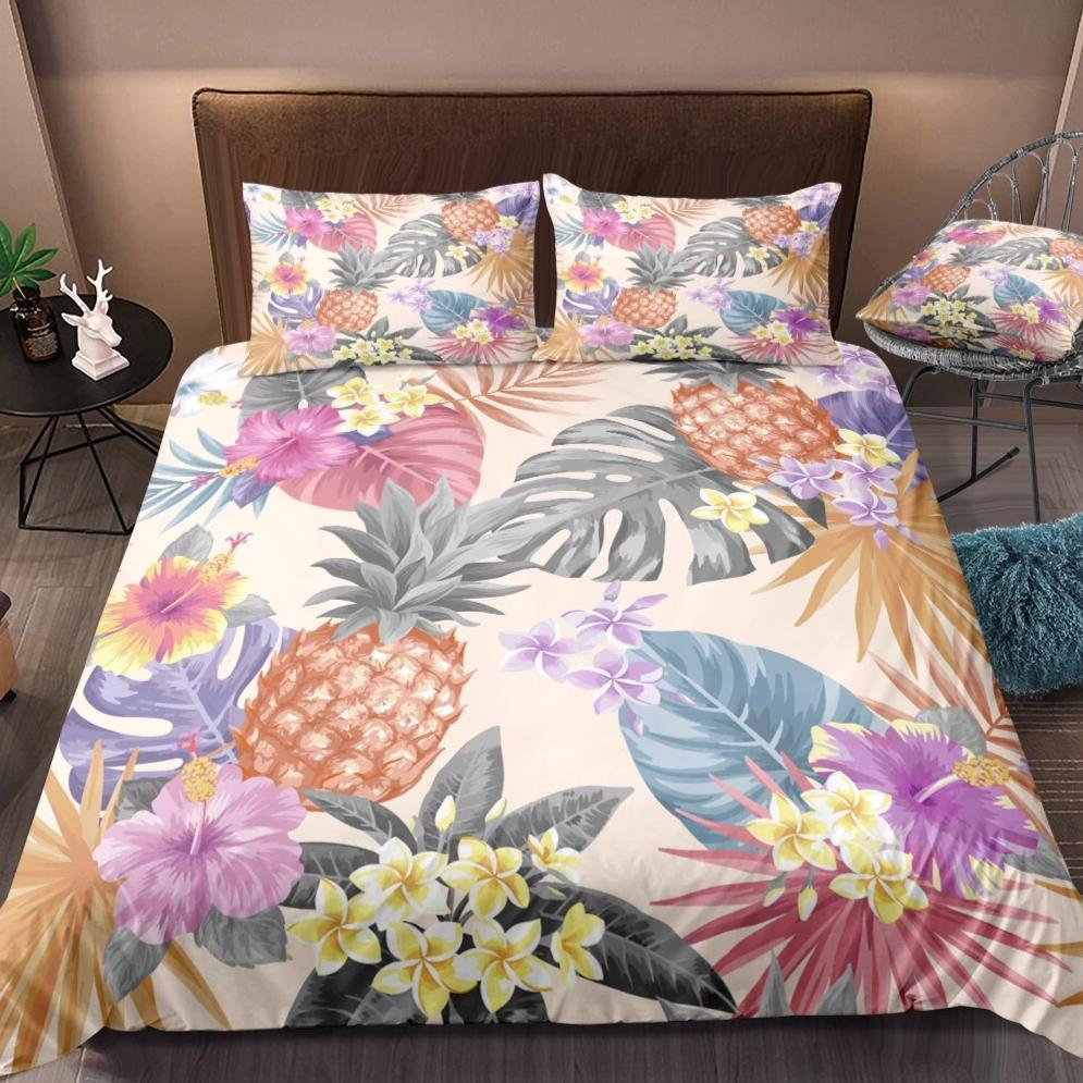 Pastel 2/3-Piece Tropical Floral Print Duvet Cover Set