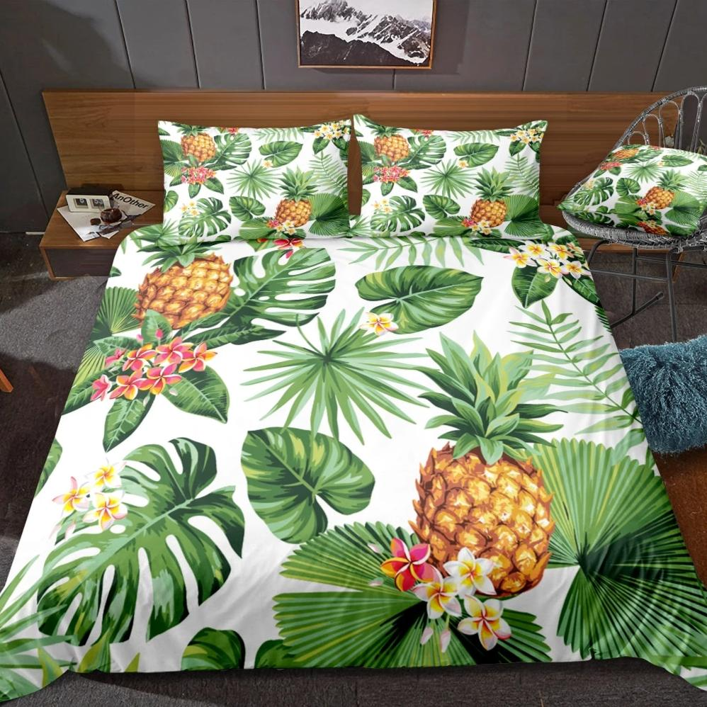 White 2/3-Piece Pineapple Palm Leaf Print Duvet Cover Set