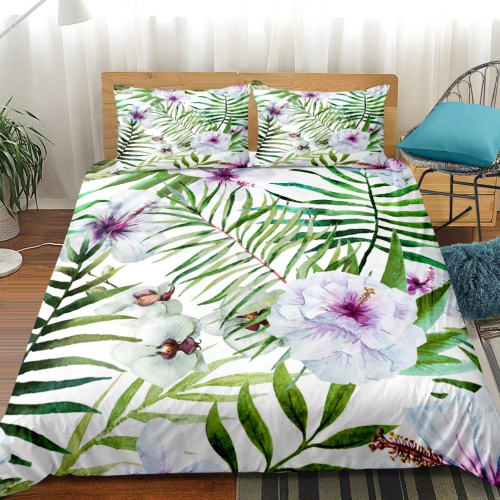 2/3-Piece Purple Floral Palm Leaf Print Duvet Cover Set