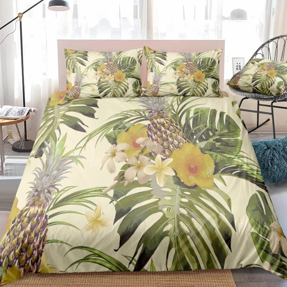 Beige 2/3-Piece Floral Pineapple Print Duvet Cover Set