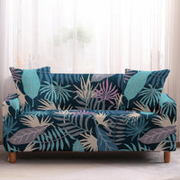 Blue / Teal Tropical Leaf Pattern Sofa Couch Cover