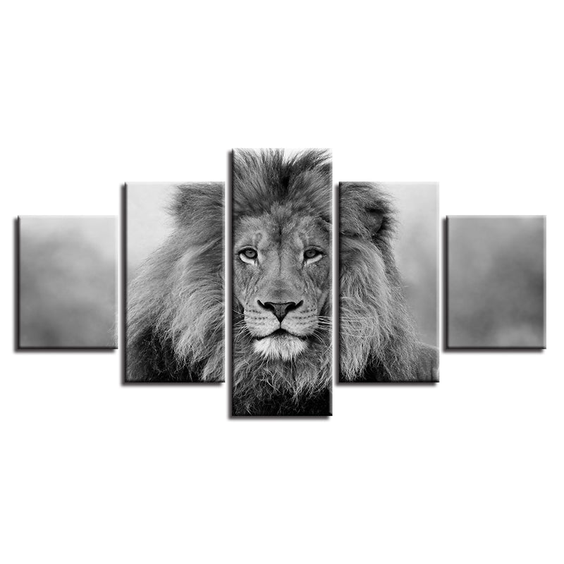5-Piece Black & White African Lion Portrait Canvas Wall Art