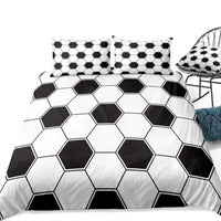 2/3-Piece Black & White Soccer Ball Pattern Duvet Cover Set