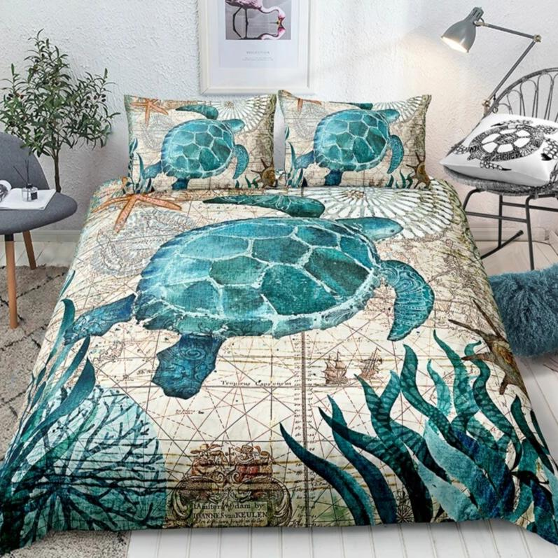2/3-Piece Mediterranean Sea Turtle Print Duvet Cover Set