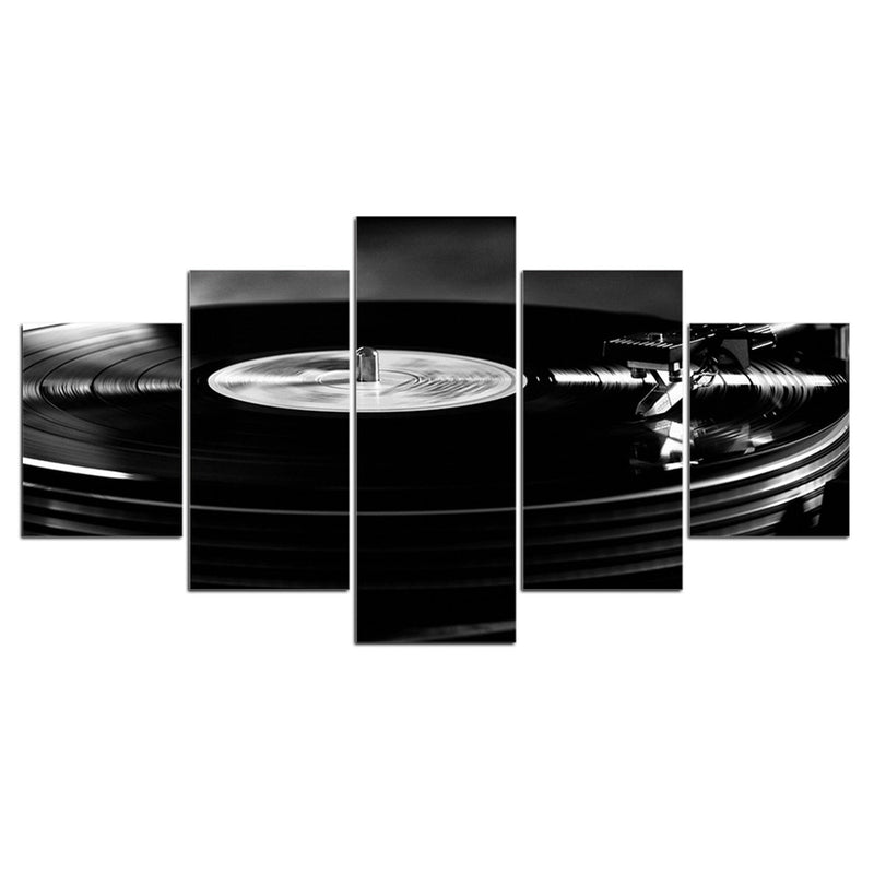 5-Piece Black Vinyl Record Turntable Canvas Wall Art
