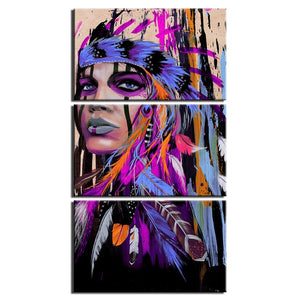3-Piece Abstract Female Indian Warrior Canvas Wall Art