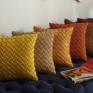 Gold / Orange / Brown Weaved Faux Suede Throw Pillow Cover