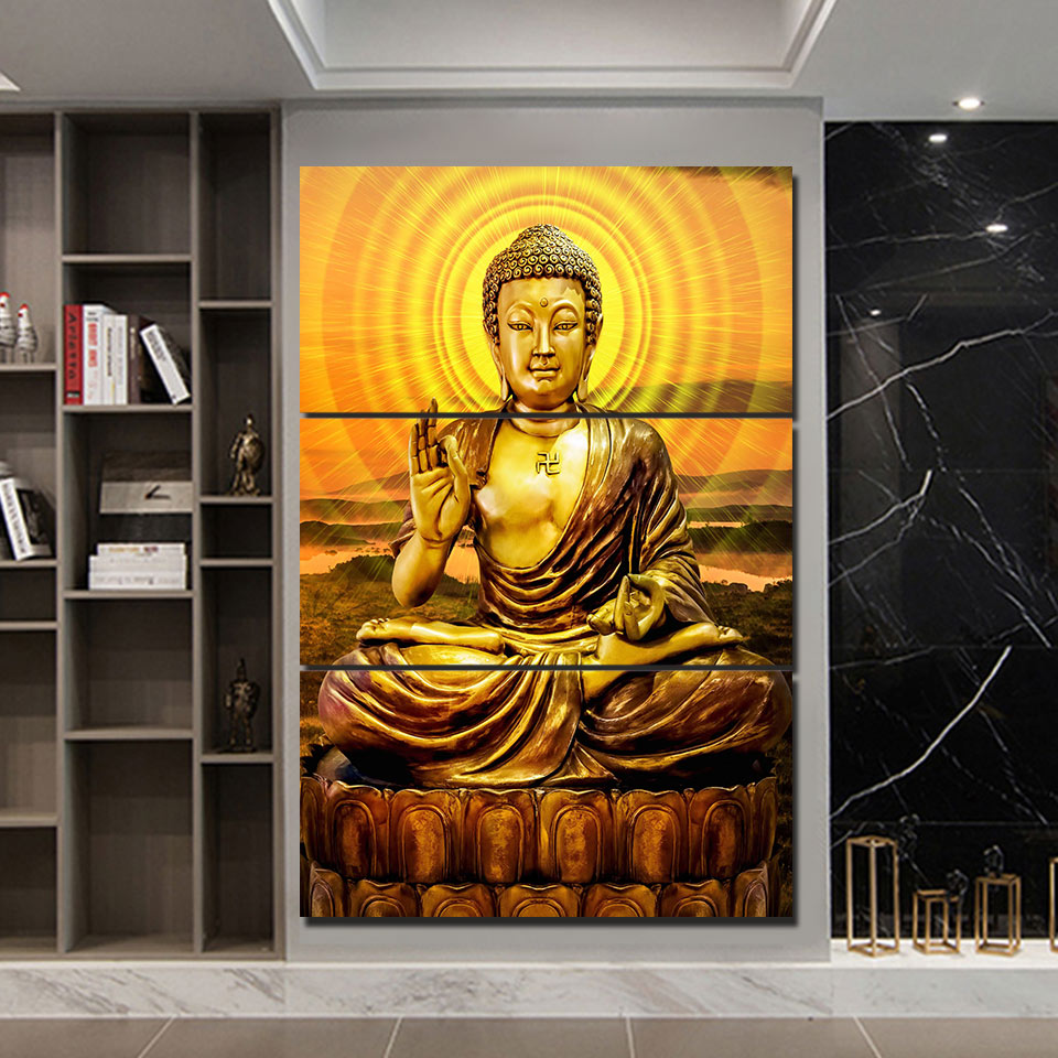 3-Piece Enlightened Golden Buddha Canvas Wall Art